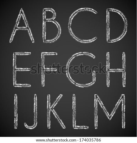 Chalk drawn alphabet characters collection -  uppercase version - stock vector