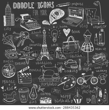 chalk drawn doodle icons for blog  - stock vector