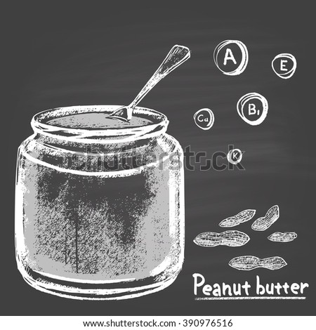 Chalk drawn illustration of bank with peanut butter. Vitamins A, E, B1, K and Calcium. Tasty food. Dessert, sweet. Traditional American sweetness. - stock vector