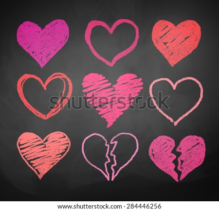 Chalk drawn vector collection of hearts. - stock vector