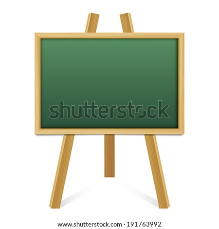 Chalk green board in a wood  frame on white background.    Vector illustration. - stock vector