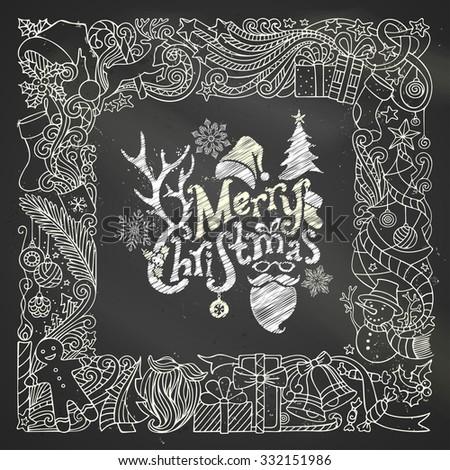 ... gingerbread man, deer, bells and ribbons, cup, Santa sock, hat, beard