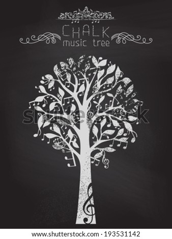 Chalk music tree on blackboard background. Music notes and treble clefs on tree. Vector illustration. - stock vector