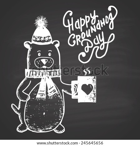 Chalk painted illustration with groundhog, heat and text. Happy Groundhog Day Theme. - stock vector