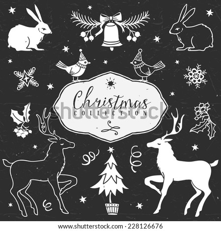 Chalk set of decorative festive illustrations. Christmas collection. Hand drawn illustration. Design elements. Vol.2