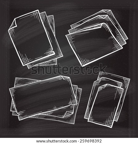 Chalk set of empty paper vintage sketches on the blackboard - stock vector