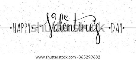 Chalk textured Happy Valentines day inscription on white grunge background. Design element for Valentine day card, banner, wedding invitation, postcard. Vector illustration. - stock vector