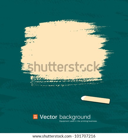 Chalk yellow pastel space for text on blackboard. vector illustration - stock vector