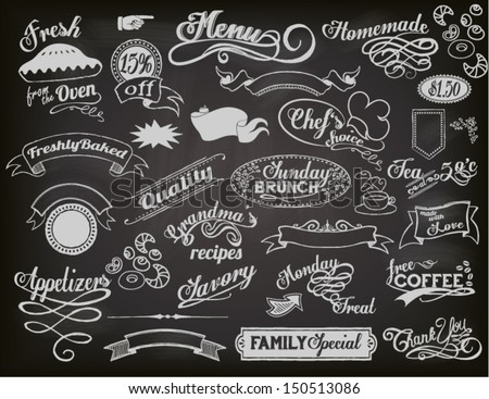 Chalkboard Ads, including banners, frames, labels, swirls and advertisements for restaurant, coffee shop and bakery - stock vector