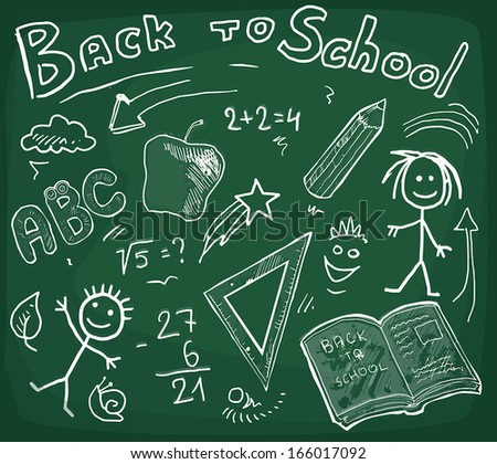 chalkboard back to school background, vector illustration - stock vector