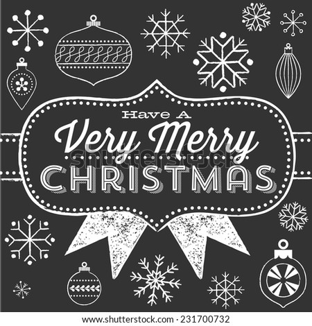 Chalkboard Christmas Greeting - Chalkboard vintage poster design.  Colors are global, and each object is grouped separately for easy editing.   - stock vector