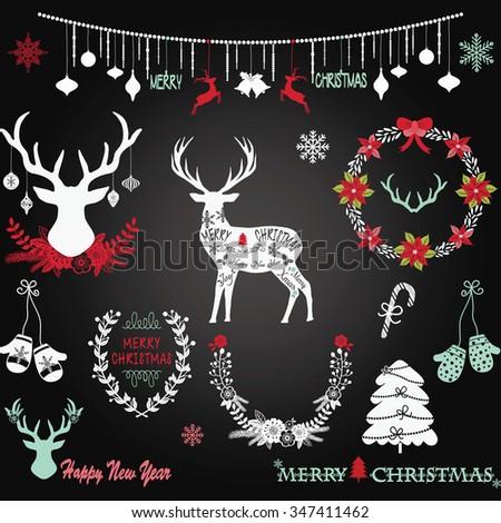 Chalkboard Christmas,Merry Christmas,Christmas decoration set. - stock vector