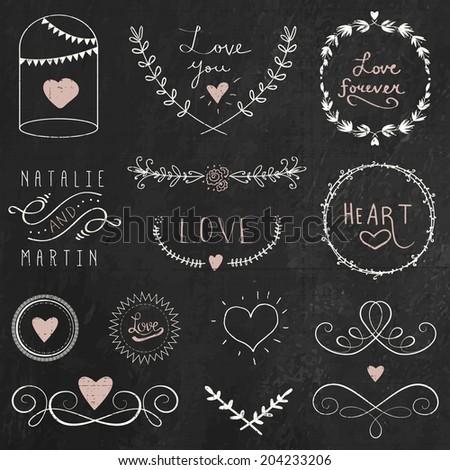 Chalkboard doodle hand drawn graphic flower set for wedding design - stock vector