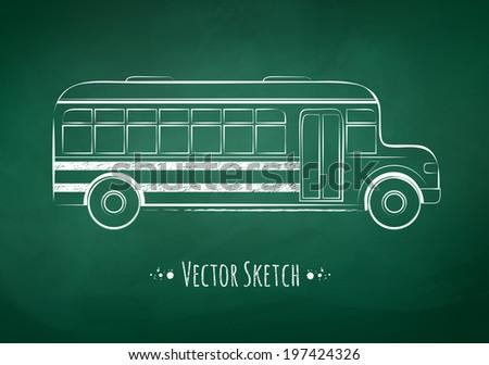 Chalkboard drawing of a school bus on green school board background. Vector illustration. - stock vector