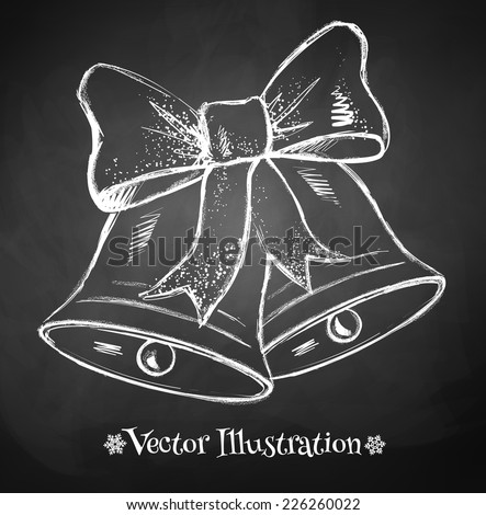 Chalkboard drawing of Christmas bell. Vector illustration. Isolated. - stock vector