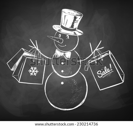 Chalkboard drawing of snowman with shopping bags. Vector illsutration. Isolated. - stock vector