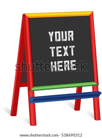 Chalkboard Easel, tall multi color wood frame blackboard sign, copy space to customize with your text for business or school. EPS8 compatible.