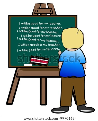 chalkboard easel with naughty boy writing lines - vector - stock vector