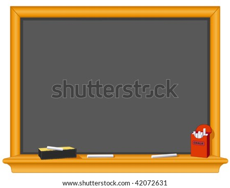 Chalkboard, Eraser, Box of Chalk. Old fashioned blackboard. Copy space to add your own text, notes or drawings for education, literacy and back to school projects. EPS8 compatible.