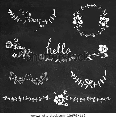 Chalkboard hand drawn graphic flower set - stock vector