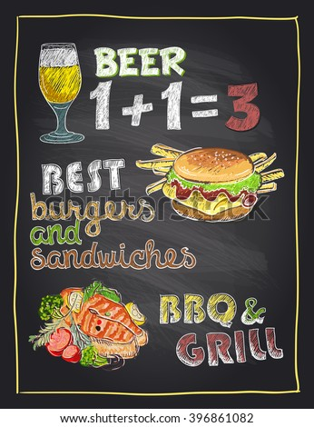 Chalkboard hand drawn menu sign with beer, burger and grilled salmon fish - stock vector