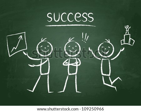 chalkboard hand-drawn success characters - stock vector