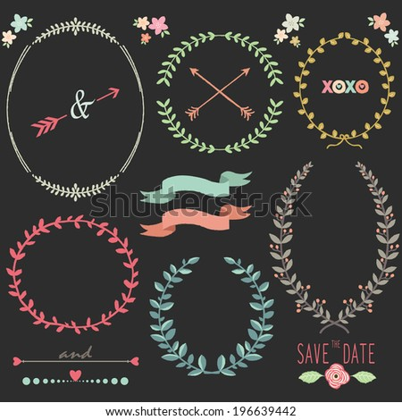 Chalkboard Laurel Wreath Wedding design elements - stock vector