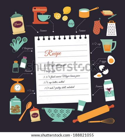 Chalkboard meal recipe template vector design stock vector chalkboard meal recipe template vector design with food icons and elements forumfinder