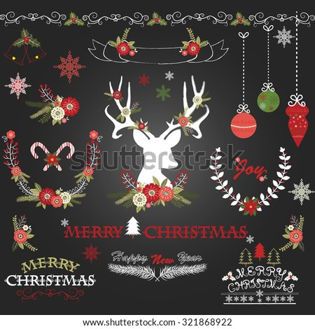 Chalkboard Merry Christmas Flowers. Deer, Rustic Christmas Wreath, Christmas Collections. - stock vector