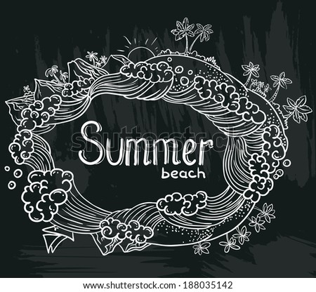 Chalkboard poster with tropical summer - stock vector