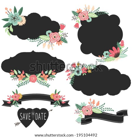 Chalkboard Retro Frames Wedding elements- Illustration - stock vector