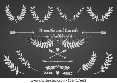 Chalkboard set for any occasion with laurels, wreaths, arrows, leaves and hearts - stock vector