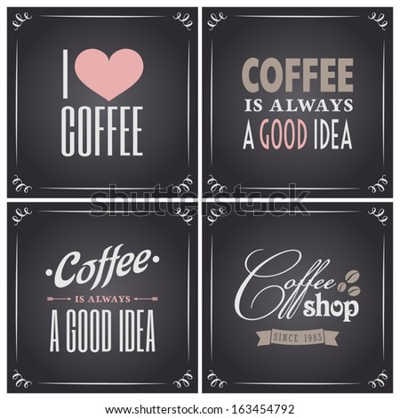 Chalkboard style coffee designs collection.