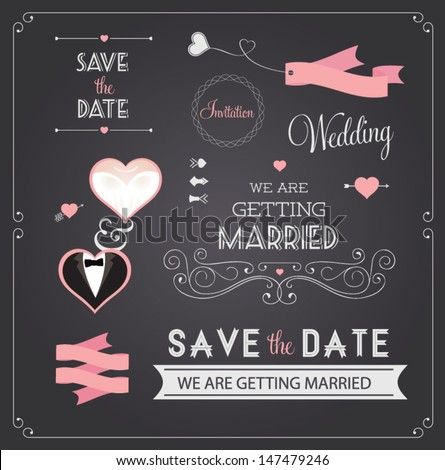 Chalkboard style wedding design and decorative elements, vintage banner, ribbon, labels, frames, badge, stickers. Vector love element.  - stock vector