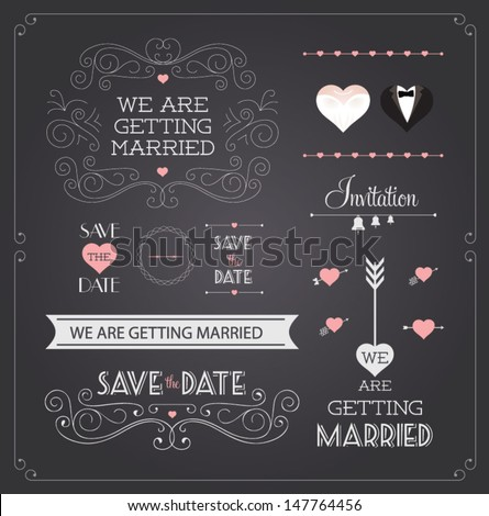 chalkboard style wedding design and decorative elements vintage banner ribbon labels frames - Decorative Chalkboards