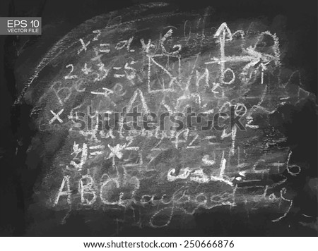 Chalkboard texture background with mathematical formula. Vector illustration. - stock vector