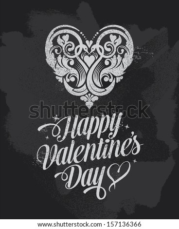 Chalkboard Valentines Day banner greetings card. Blackboard vector design with removable texture. - stock vector