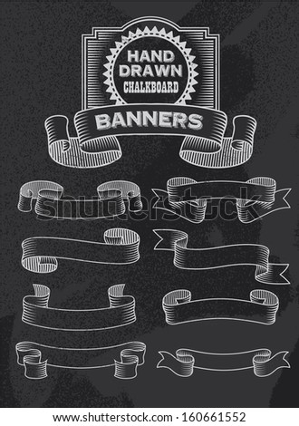Chalkboard Vector Banners and Ribbons - stock vector