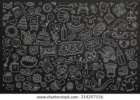 Chalkboard vector hand drawn Doodle cartoon set of objects and symbols on the baby theme - stock vector
