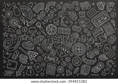 Chalkboard vector hand drawn doodles cartoon set of Casino objects and symbols - stock vector