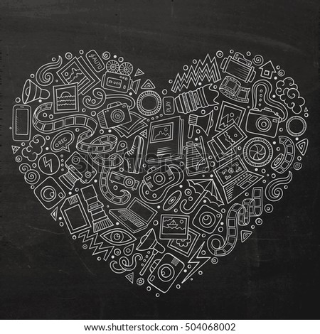 Chalkboard vector hand drawn set of Photo studio cartoon doodle objects, symbols and items. Heart form composition