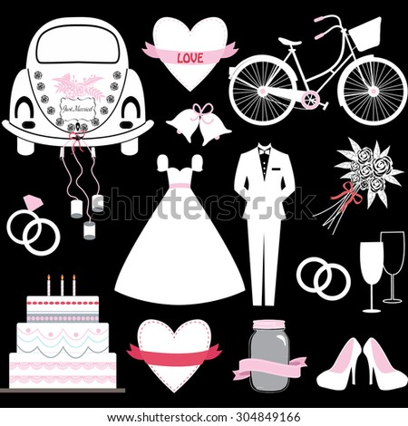 Chalkboard Wedding Doodles. - stock vector