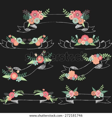 Chalkboard Wedding Flora with Banners - stock vector