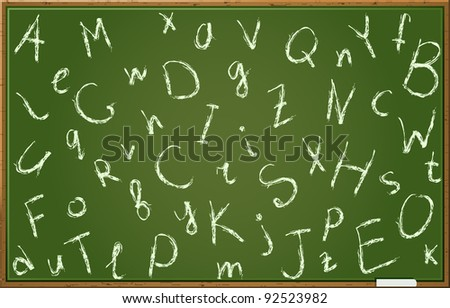 Chalkboard With Alphabet Letters In Chaotic Order. Vector Illustration EPS8