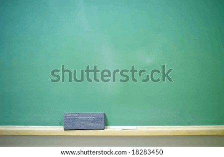 Chalkboard with eraser and chalk, horizontal. VECTOR. - stock vector