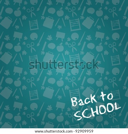 chalkboard with silhouette ,back to school background. vector illustration - stock vector