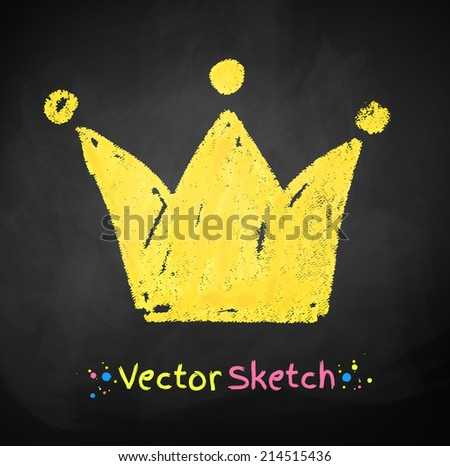 Chalked childlike drawing of crown. Vector illustration. - stock vector