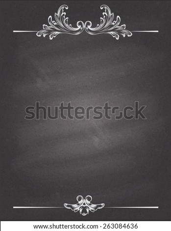Chalked vintage baroque frame. Vector eps 10. - stock vector