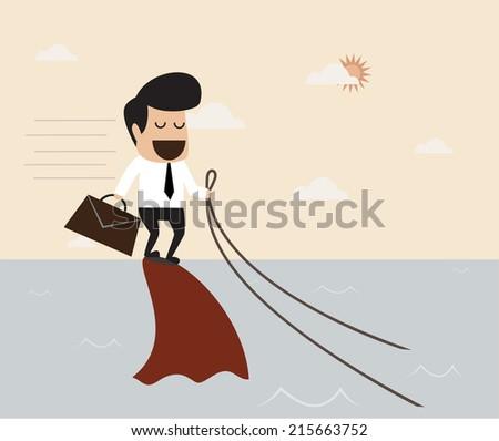 Challenge concept : Business man riding a shark - stock vector