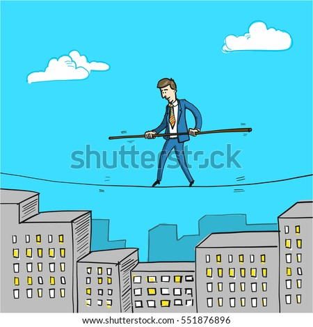 challenge - conceptual vector illustration of businessman balancing on rope over cityscape with office buildings